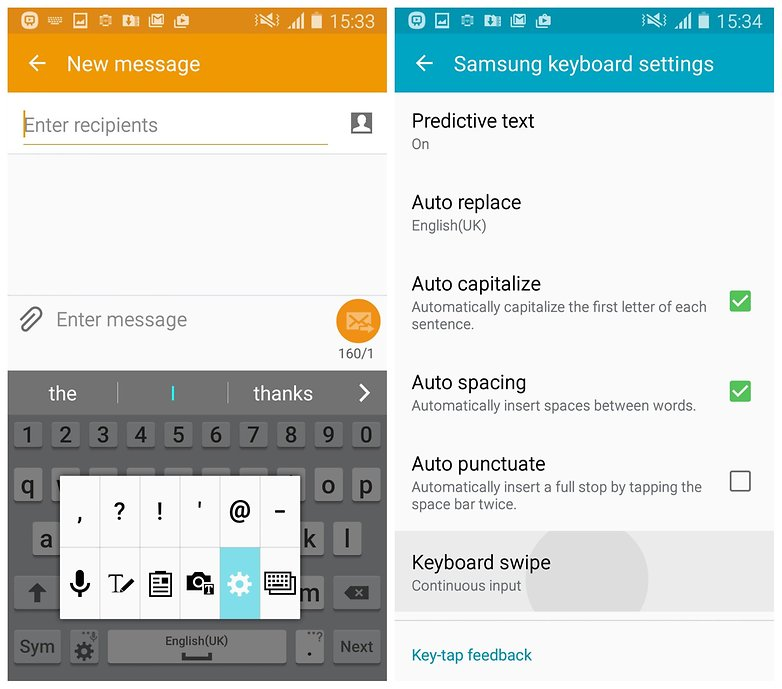 AndroidPIT Galaxy S4 Lollipop keyboard settings swipe