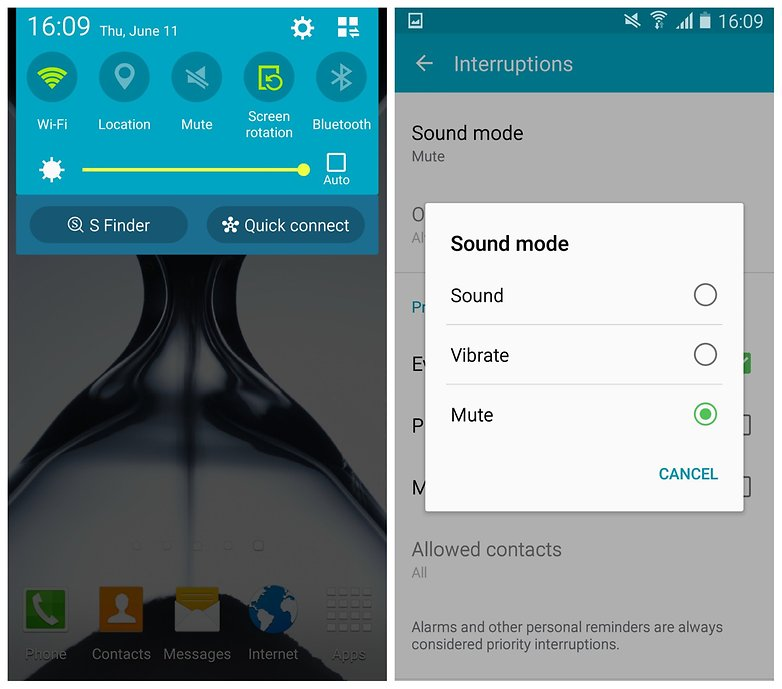 AndroidPIT Galaxy S4 Lollipop mute mode