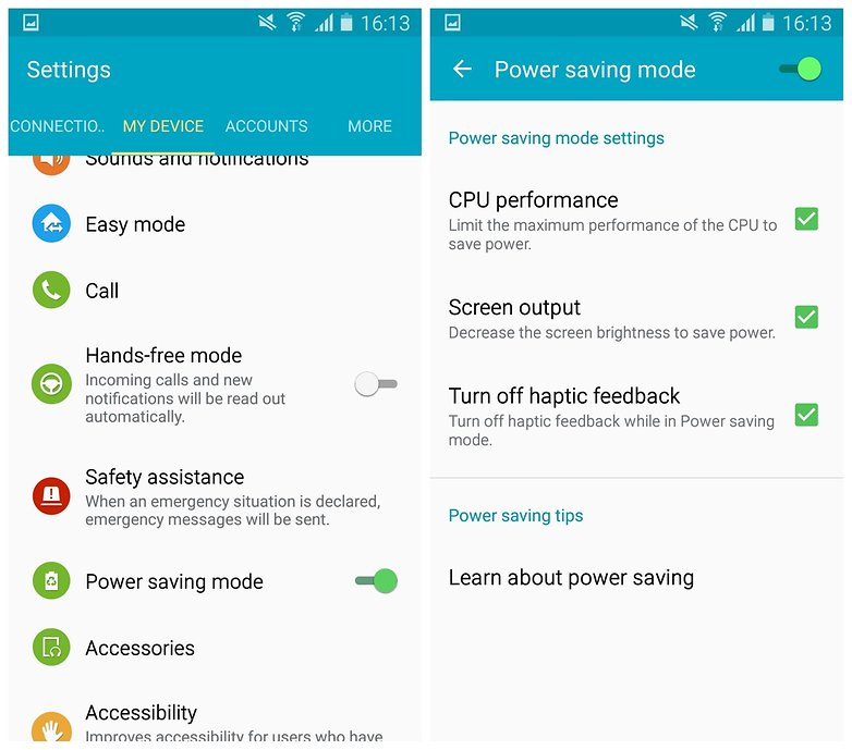 AndroidPIT Galaxy S4 Lollipop power saving mode