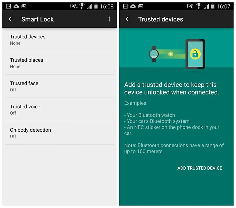 AndroidPIT Galaxy S4 Lollipop smart lock trusted device
