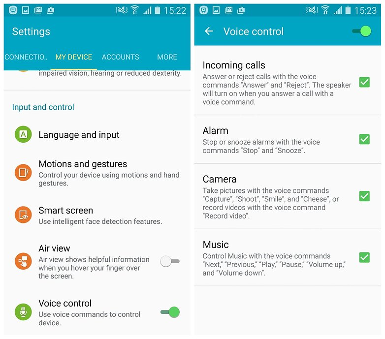 AndroidPIT Galaxy S4 Lollipop voice control settings