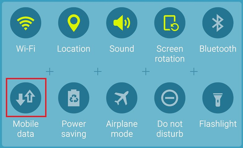 AndroidPIT Galaxy S6 TouchWiz Lollipop mobile data toggle highlight