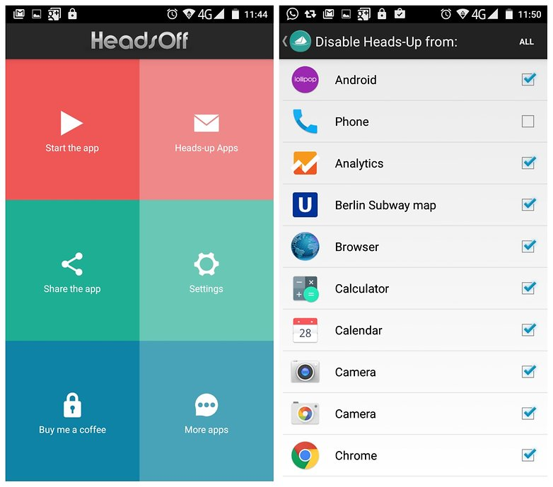 AndroidPIT Heads Off app settings
