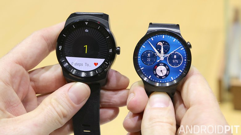 AndroidPIT Huawei Watch LG G Watch R size comparison