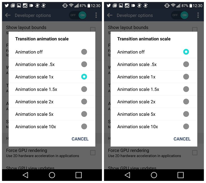 AndroidPIT LG G4 Developer Options transition animation scale