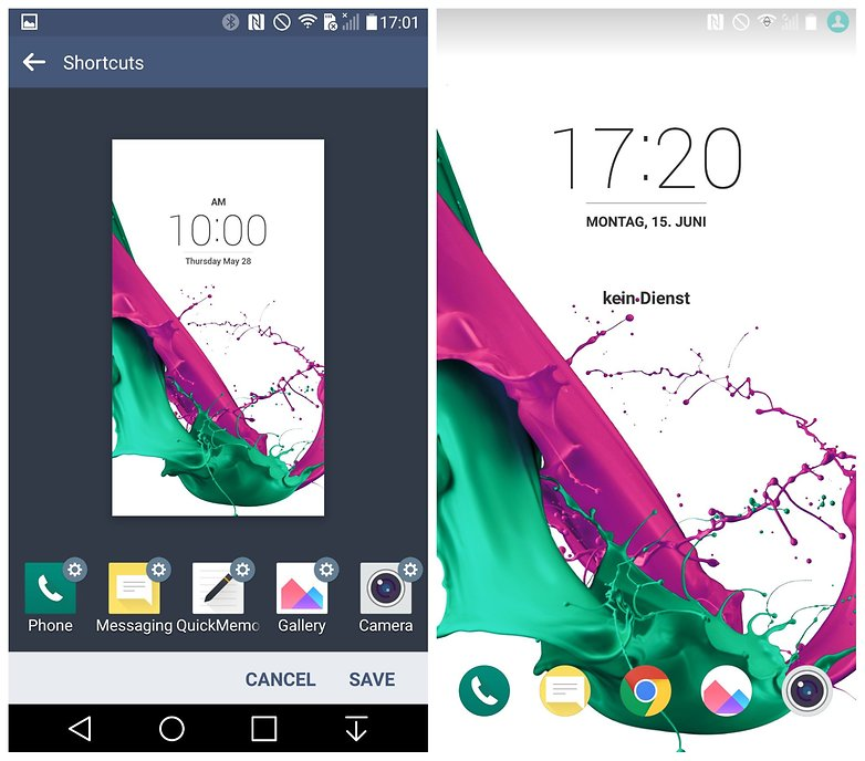 AndroidPIT LG G4 Lollipop lock screen app shortcuts