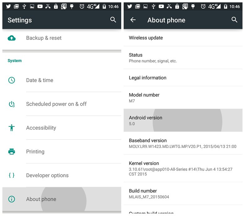 AndroidPIT Lollipop Settings About Phone Android Version