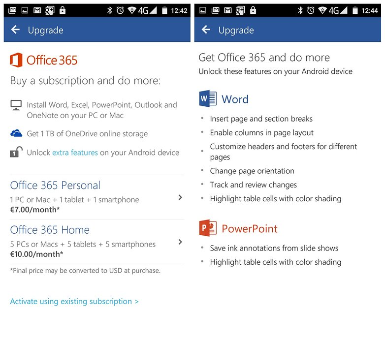 AndroidPIT Microsoft Office word office 365 features