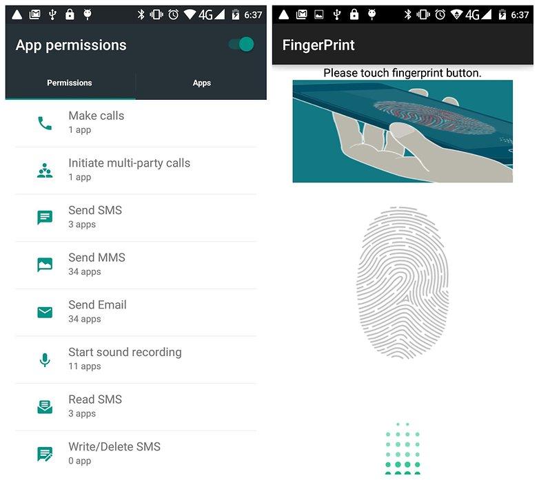 AndroidPIT Mlais M7 app permissions finger scanner
