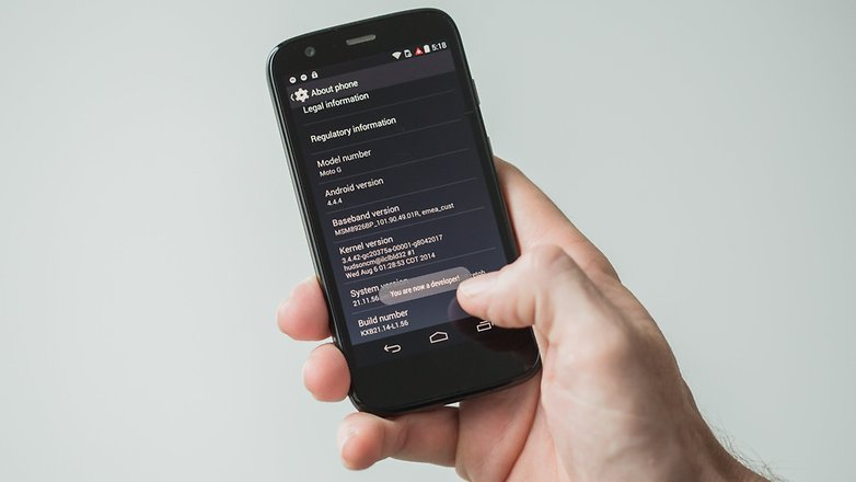 AndroidPIT Moto G 2013 developer options