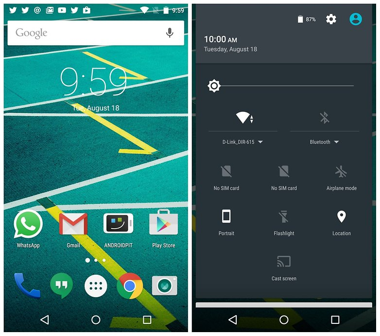 AndroidPIT Moto X Play home screen quick settings