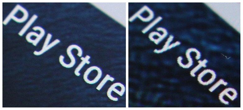 AndroidPIT Nexus 6 screen QHD vs HD text close up