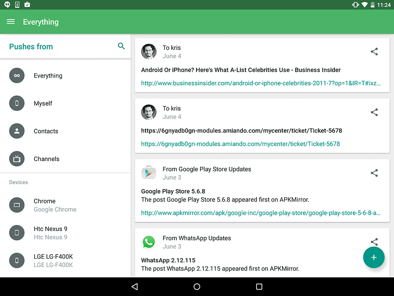 AndroidPIT Nexus 9 Lollipop Pushbullet pushes