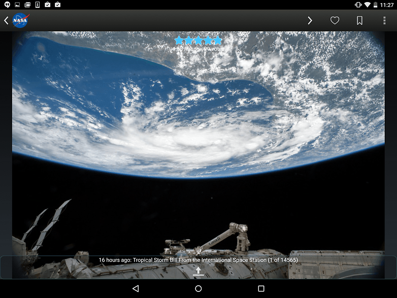 AndroidPIT Nexus 9 NASA app planet earth from space