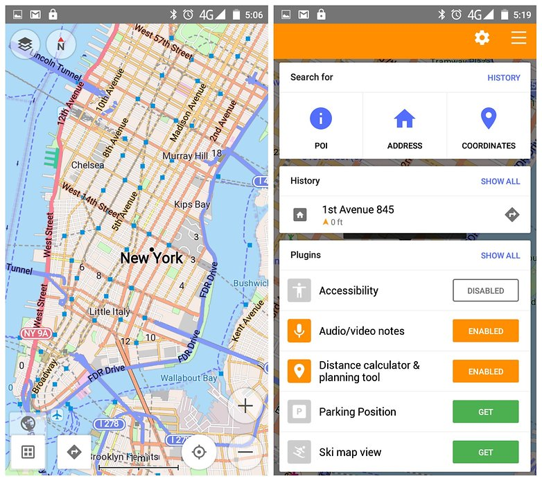 Best free offline map apps for android androidpit androidpit offline maps osmand manhattan 1 gumiabroncs Gallery