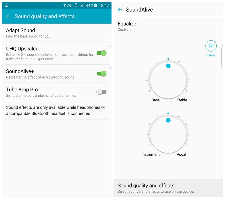 AndroidPIT Samsung Galaxy S6 Edge Plus audio settings