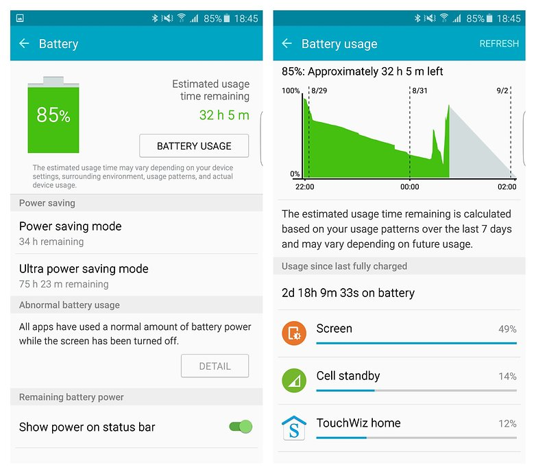 AndroidPIT Samsung Galaxy S6 Edge Plus battery stats