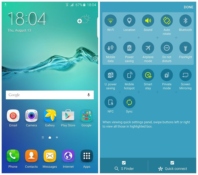 AndroidPIT Samsung Galaxy S6 Edge Plus home screen quick settings
