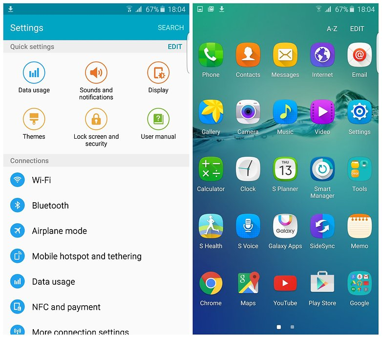 AndroidPIT Samsung Galaxy S6 Edge Plus settings app drawer