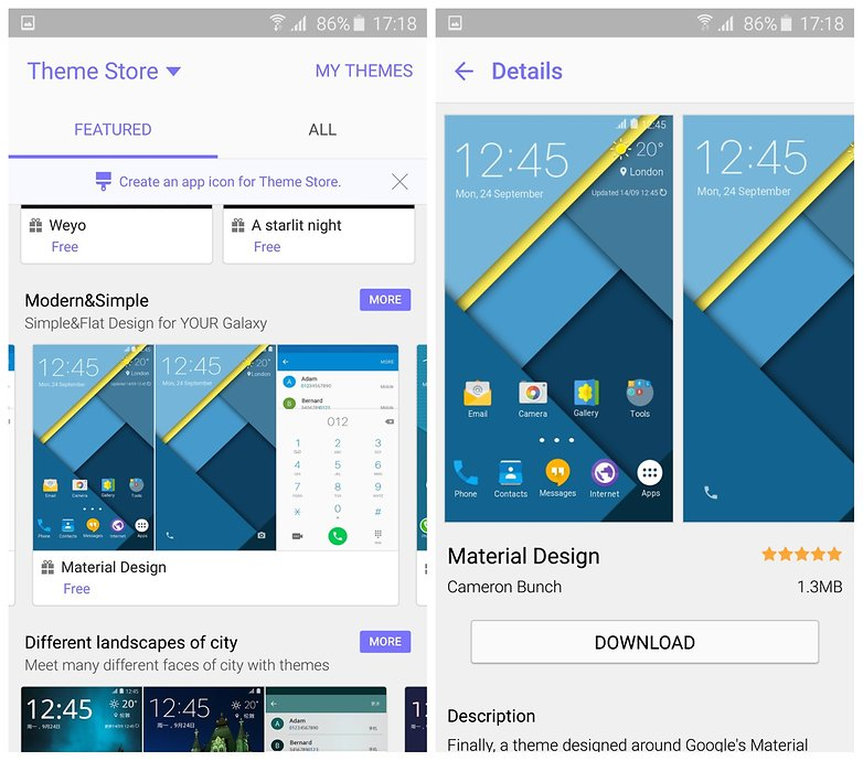 AndroidPIT Samsung Galaxy S6 Edge Theme Store material design