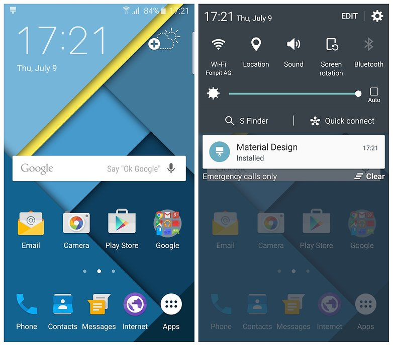 AndroidPIT Samsung Galaxy S6 Edge material design theme home screen notifications