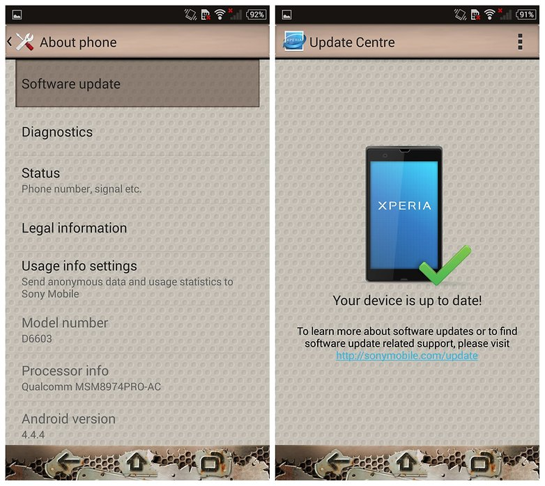 AndroidPIT Sony Xperia Z3 Settings Update Software