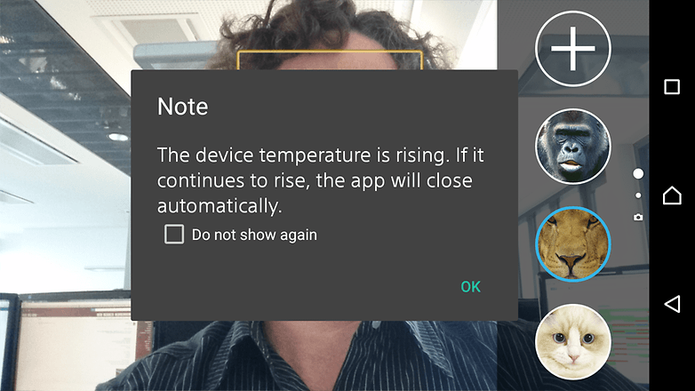 AndroidPIT Sony Xperia Z3 camera overheating warning