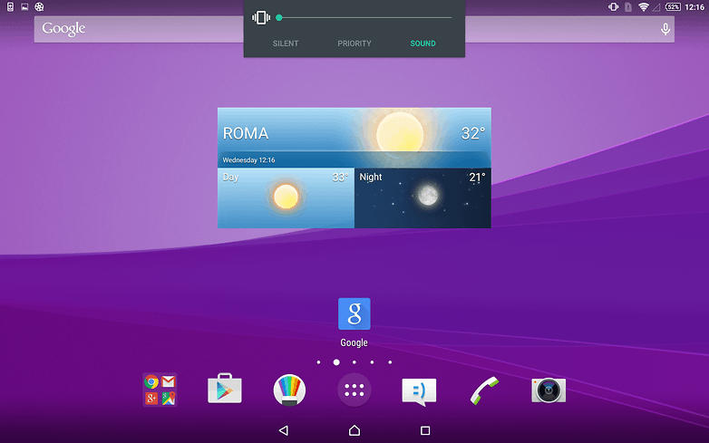 AndroidPIT Sony Xperia Z4 Tablet home screen volume