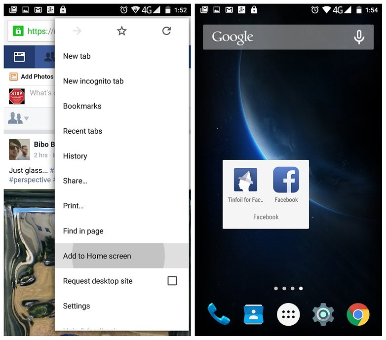 AndroidPIT Tinfoil for Facebook Chrome shortcut