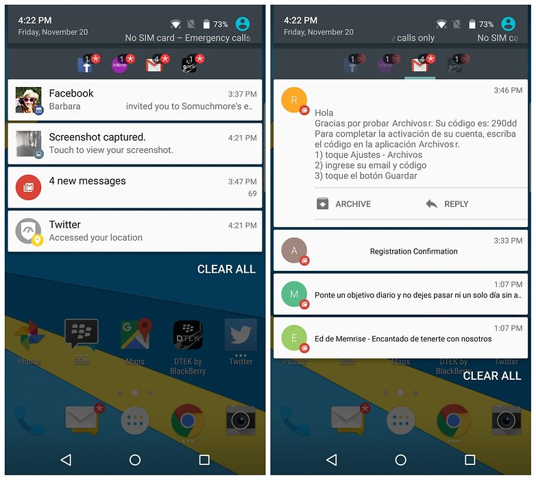 AndroidPIT BlackBerry Priv lock notification sorter