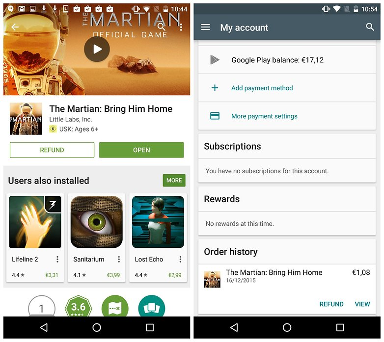 AndroidPIT Google Play app refund The Martian