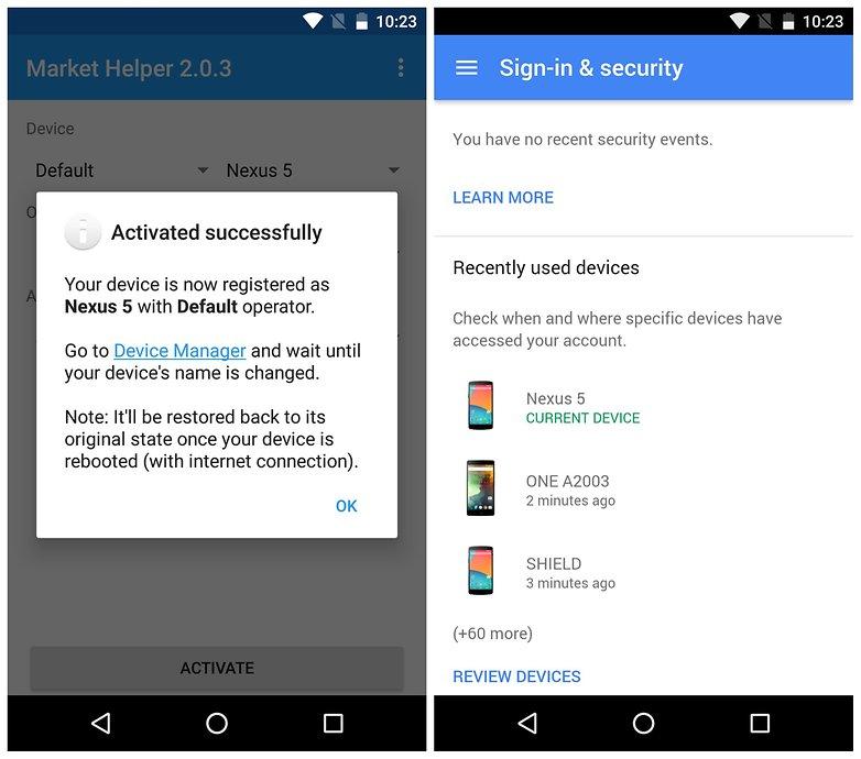 AndroidPIT Market Helper restore default device