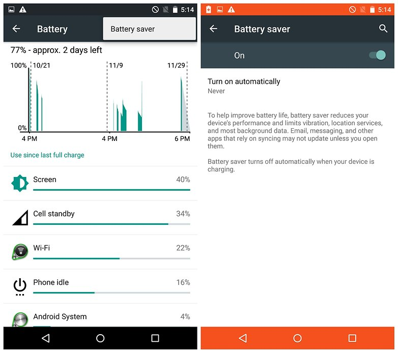 AndroidPIT Moto X Pure battery saver
