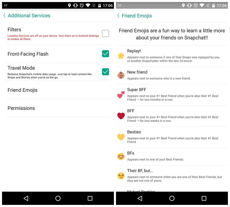AndroidPIT Snapchat tips additional services emoji