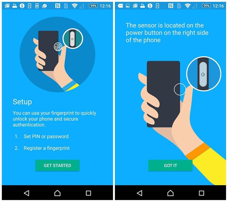 AndroidPIT Sony Xperia Z5 fingerprint scanner setup