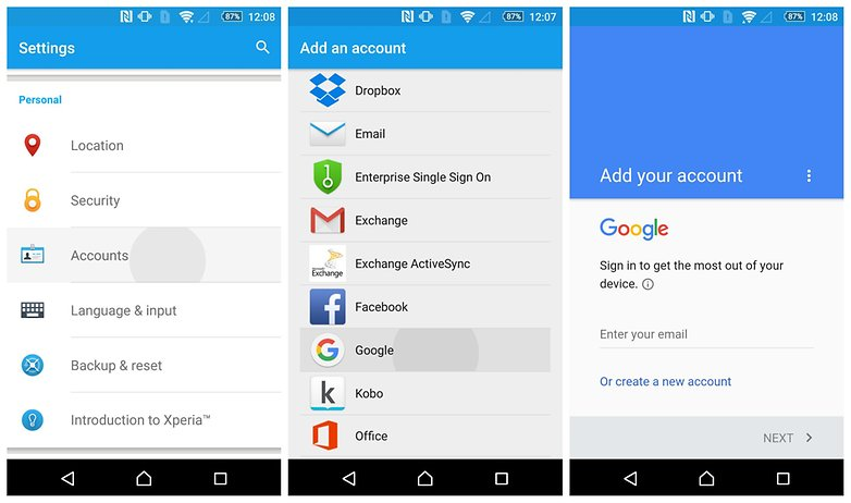 AndroidPIT add new google account