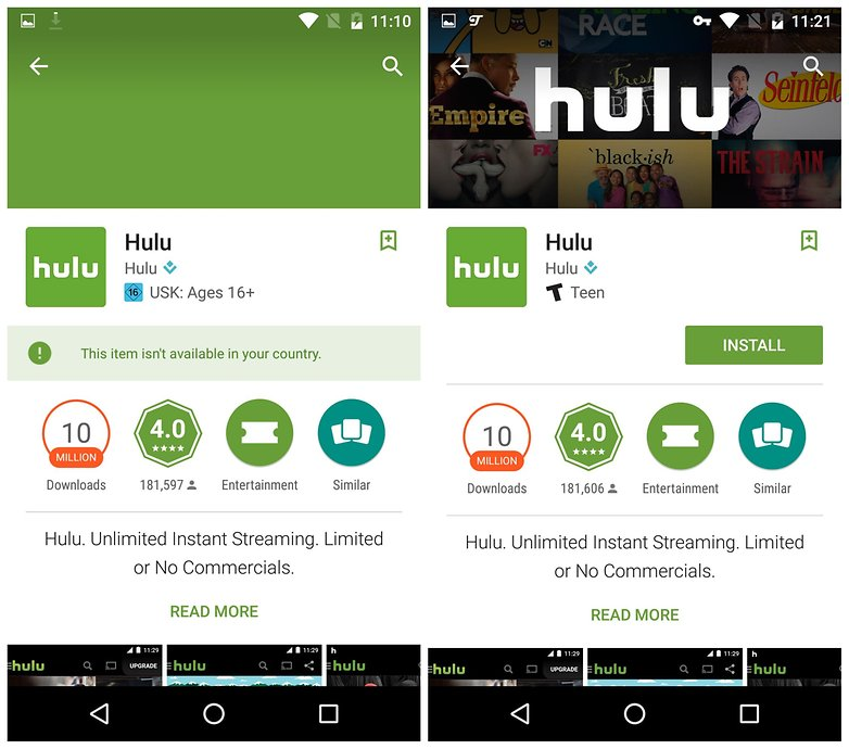 AndroidPIT install hulu region restriction
