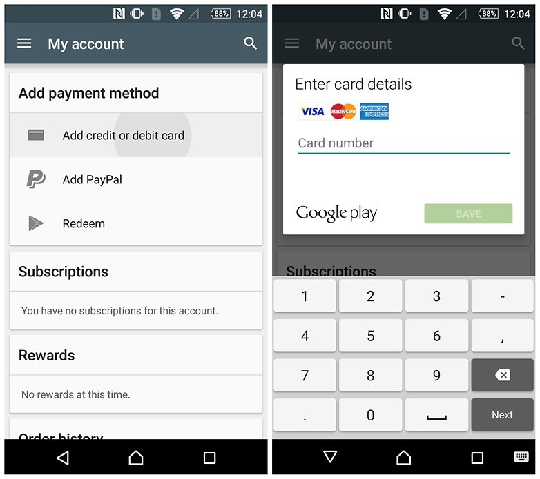how to remove credit card google play newshosting api