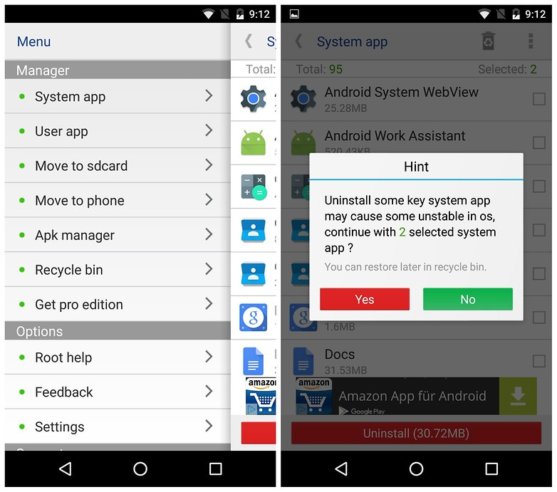 AndroidPIT root apps System App Remover