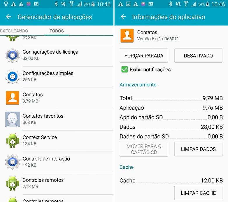 Galaxy S4 contatos