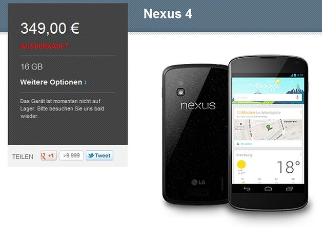 Nexus 4 - Nach wenigen Minuten ausverkauft