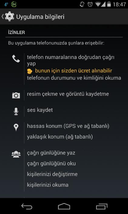 Facebook Permissions turkish