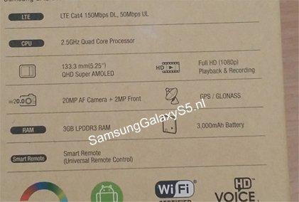 Rear box Samsung Galaxy S5