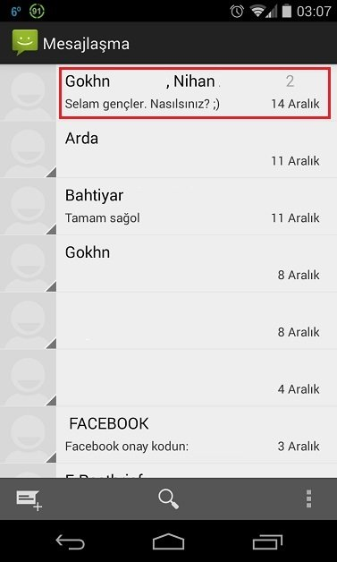 Stok Android SMS
