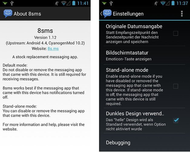 8sms app screenshot hell dunkel 03