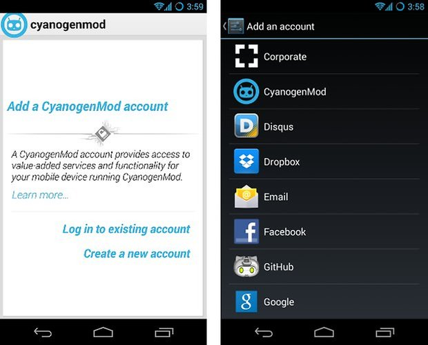 CyanogenMod accounts neu