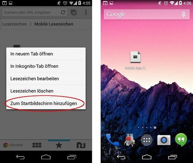 android anleitung lesezeichen homescreen screenshot 03