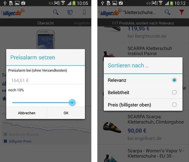 app billiger de screenshot 02 preisalarm