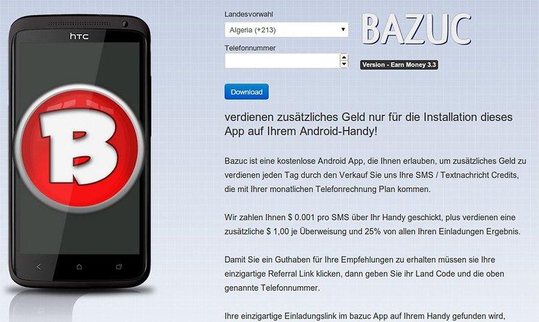 bazuc sms app sicherheitswarnung website