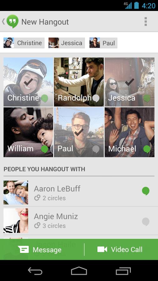 google apps hangout screenshot